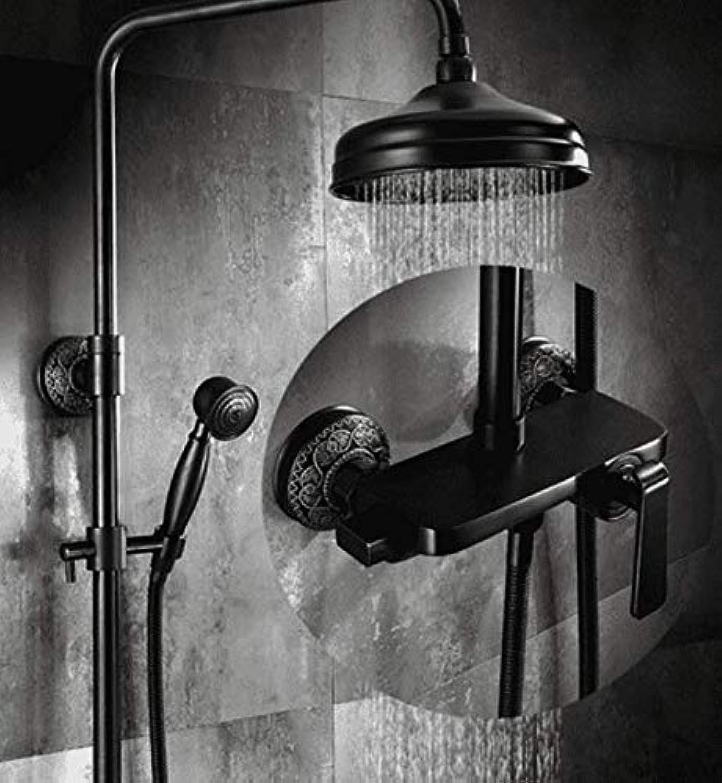 Schwarz Duschset Schlauch Kupfer EuropIsch Retro Badezimmer Wandmontage Wandmontage Duschkopf HandgerT.