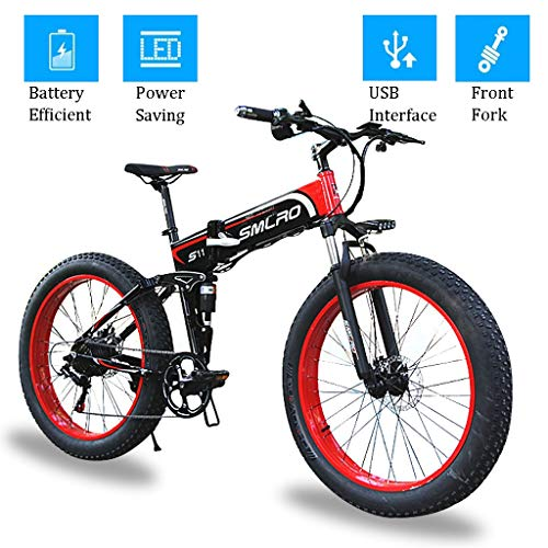 26 Inch Fat Tire Electric Bikes 48V 350W Folding Motor Electric Bicycle with LCD Display and USB Interface for Men Adult Outdoor Cycling Trabing (Color : RED, Size : 36V-10Ah)