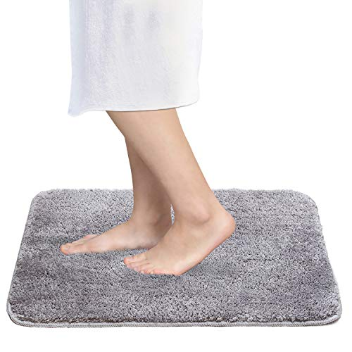 Betus Luxury Shaggy Bath Mat - Water Absorbent and Non-Slip Backing - Machine Washable Plush - Ultra Soft and Cozy Shower Bathroom Floor Rug - 24x16 Inch (Grey)