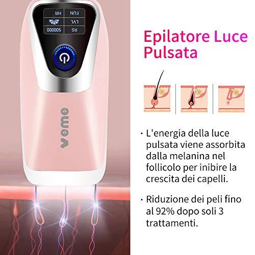 Epilatore Luce Pulsata per Corpo e Viso Epilatori Laser per Donna IPL Depilazione con 500000 Impulsi di Luce
