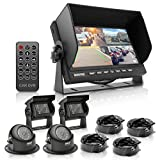 """Multi-Camera Monitor Video System Kit - 7"""" Quad View LCD Display Screen Waterproof Rated Round & Square Rear View Backup Cameras w/Night Vision Illumination & DVR Recording - Pyle PLCMTRDVR48"""