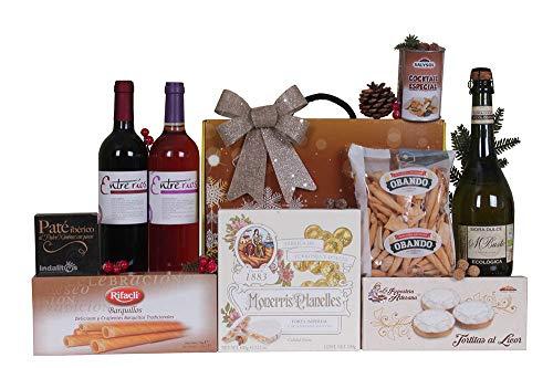 """Estuche de Navidad ECONÃ""""MICO con sidra y vino, surtido de turrones y dulces y conservas"""