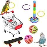 SDFSD 5 Piezas Juguete de Loro, Juguetes de Aves, Juguetes para Pájaros, Contiene Carro de Compras, Anillo de Entrenamiento, Patineta, Campana, Usado para Entrenamiento de Aves (Color Aleatorio)