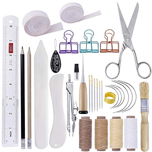 BUTUZE 32 Pieces Hand Bookbinding Tools, Bookbinding Kit for Beginners,Complete Bookbinding Tool Kit with Bookbinding Waxed Thread,Sewing Needles for Paper Bookbinding