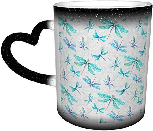 Libélulas en Paisley Taza mediana sensible al calor que cambia de color en el cielo Tazas de café Taza de cerámica Regalos personalizados para amantes de la familia Amigos