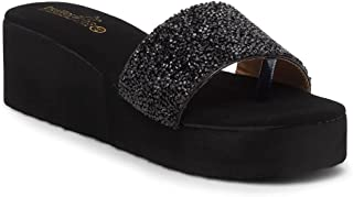 Butterflies Steps Latest Collection, Comfortable Wedges Sandal for Women's & Girl's(Black)(GHS-0086BK)