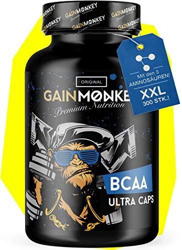 GAINMONKEY® BCAA Kapseln XXL - 300 Kapseln Essentielle Aminosäuren Leucin, Valin & Isoleucin I Aminosäuren Komplex Hochdosiert I Made in Germany