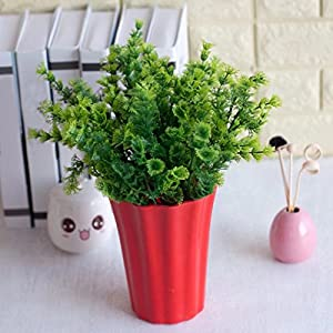 narutosak Artificial Flowers 1 Bouquet Mimosa Plastic Green Plant Home Office Shop Decoration – Green