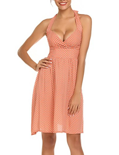 Meaneor dames polka dots halder jurk A-lijn 50er vintage wikkeljurk cocktailjurk met stippen