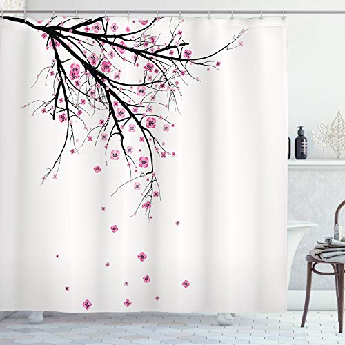 Ambesonne House Decor Shower Curtain Set, Cherry Blossoming Falling Petals Flowers Springtime Park Simple Illustration Print, Bathroom Accessories, 69W X 70L Inches, Pink Black