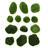Artibetter 13 Piezas de Musgo Artificial Piedra Verde Flocado Simulación de Musgo de Hadas Cubiertas Piedras Micro Paisaje Plantador Jarrón Decoración de Musgo Accesorios