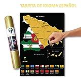 Global Walkabout Spanien Scratch Karte Spanien Spanien mit Flaggenhintergrund – Geschenk für Reisen schwarz