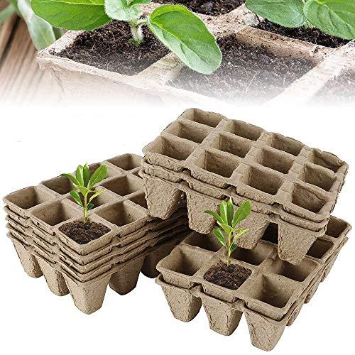 Anzuchttöpfe Pflanztöpfe (17 Set 204 Karierte) Pflanzenanzucht Anzuchtkasten H: 5cm, Zellulose-Biologisch Abbaubar Pflanztopf / Saattopf / Pflanzenanzucht (17pcs)