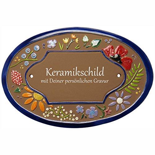 Handarbeit aus Schleswig-Holstein Keramikschild 21,0 x 14,5 cm Wildblütendekor (braun)