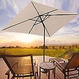ROWHY 6.5 x 10ft Rectangular Patio Umbrella Outdoor Table Umbrella Market Umbrella with Push Button Tilt and Crank Portable Garden Sunshade UV Protection Waterproof for Lawn Garden, Backyard, Beige