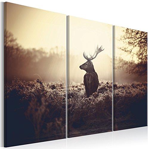 murando - Bilder Hirsch 120x80 cm Vlies Leinwandbild 3 Teilig Kunstdruck modern Wandbilder XXL Wanddekoration Design Wand Bild - Natur Landschaft Tier g-B-0045-b-h