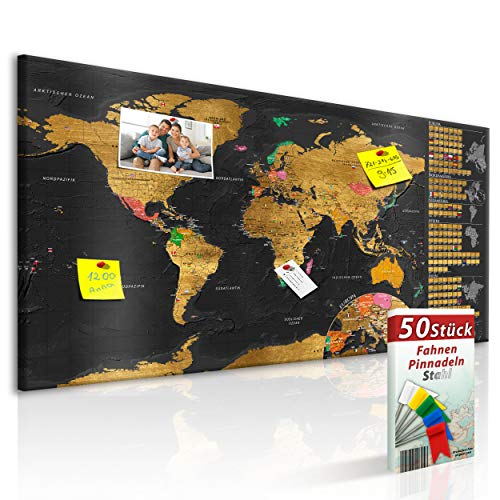 decomonkey Rubbelweltkarte Pinnwand DEUTSCH 90x45 cm Weltkarte zum Rubbeln mit Fahnen/NationalfLaggen Rubbelkarte Full HD Scratch Off World Travel Map Landkarte inkl. 50 Markierfähnchen Pinnadeln