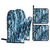 Juego de 4 Guantes y Porta ollas para Horno Resistentes al Calor Fondo Abstracto cristalizado patrón Mosaico Colorido para Hornear en la Cocina,microondas,Barbacoa