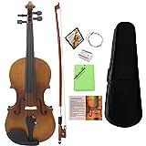 Ammoon, violino intero 4/4, in legno massiccio con finitura opaca, poggiatesta in abete, tastiera in ebano, a 4 corde, con custodia rigida, con panno e colofonia
