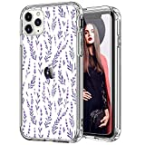 ICEDIO iPhone 11 Case with Screen Protector,Clear with Fashion Floral Designs for Girls Women,Shockproof Slim Fit TPU Cover Protective Phone Case for Apple iPhone 11 6.1 inch Nice Lavender