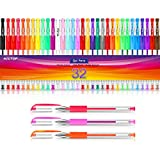 Gel Pens for Adult Coloring Books, 32 Colors Gel Marker Set Colored Pen with 40% More Ink for Kids...