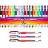 大人用塗り絵用ジェルペン 32色 ゲルマーカーセット 色付きペン インク40%増量量インク付き 子供の絵 落書き 箇条書きのジャーナル クラフトスクラップブック メモ取りに