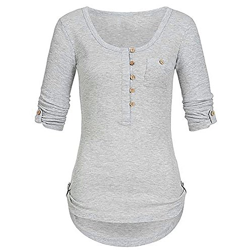 NEEKY Frauen T-Shirts Kleidung Angebote! Damenmode Solid Langarm Knopf Bluse Pullover Tops mit Taschen(EU:36/CN:M, Grau)