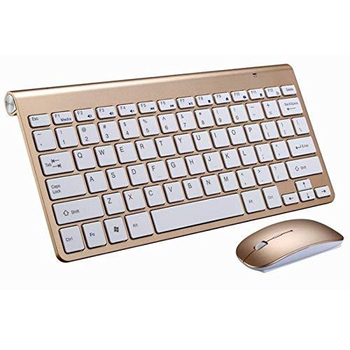 Teclado Yuan Ou Juego Combinado de Mouse y Teclado inalámbrico 2.4G para computadora portátil, computadora portátil, computadora de Escritorio, Smart TV GoldKeyboardmouse