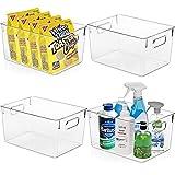 KAZIPA Clear Plastic Storage Bins - Perfect Kitchen Organization and Storage, Pantry Organization and Storage, Fridge Organizer, Refrigerator Organizer, Freezer Organizer, Cabinet Organizer - 4 Pack