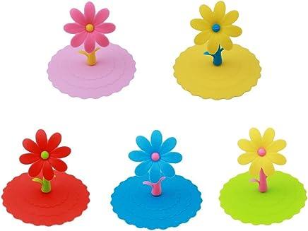 Preisvergleich für BESTONZON Silikon-Cup-Deckel - 5PCS Cute Flower Anti-Staub auslaufsicher Silikon Cup Cover Candy Farbe Saug Seal Cover