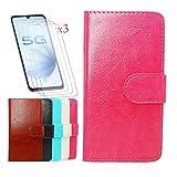 YZKJ Funda para Coolpad Cool S (6.53') + [3 Piezas] Cristal Templado Protector de Pantalla,Cover Flip Case PU Cuero Caso Función de Soporte Billetera Tapa Carcasa - Rosa roja