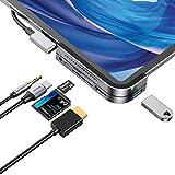 iPad Pro USB Cハブ Baseus ドッキングステーション iPad Proドングル USB-C PD充電 USB Type-Cアダプター 4K HDMI 6in1 SD/マイクロカードリーダー USB 3.0 3.5mmヘッドフォンジャック iPad Pro 2020 2019 2018 など対応