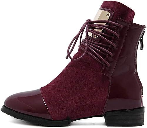 ZHRUI Stiefel de damen Stiefel de Piel Planas Martin Tobillo Tobillo (Farbe   rot, tamaño   4 UK)