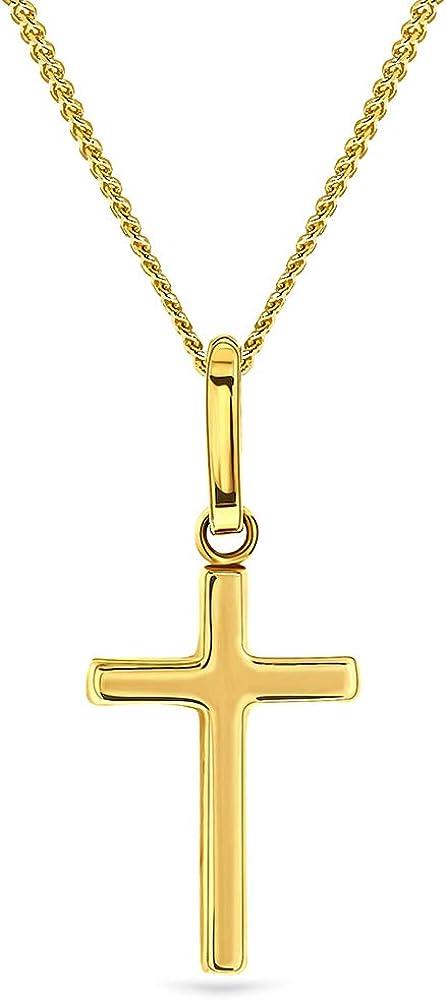 Miore, collana per donna,con pendente a forma di croce,in oro giallo 9 kt / 375(1,35 gr) MA9125N