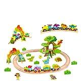 RB&G Ferrocarril de madera para niños, tren con rieles de madera, 40 piezas, diseño de dinosaurios, combinable