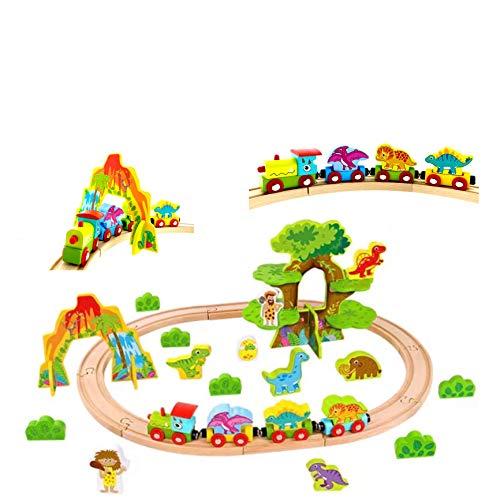RB&G Holzeisenbahn Set Eisenbahn für Kinder / Zug mit Schienen Holzbahn 40 teilig / Dinosaurier / kombinierbar