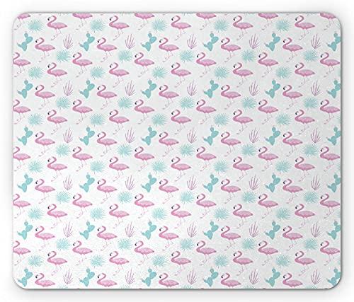 Alfombrilla de ratón en colores pastel, patrón de colores pastel con escenas navideñas de flamencos, cactus y plantas, alfombrilla de goma rectangular antideslizante, estándar rosa bebé azul pálido