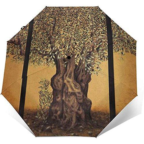 Triptychon eines Alten Reifen Olivenbaums Folding Compact Umbrella wasserdicht-Sun Block-Auto Open&Close (schwarzer Kleber)