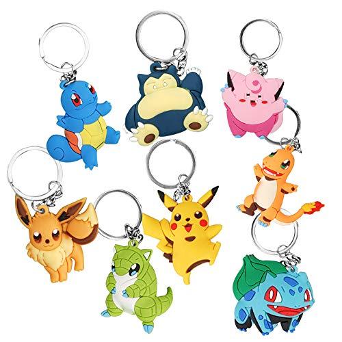 FORMIZON Porte-Clés Pokémon, 8 Pièces Pokemon Monster, Anneau de Clé, Pokemon Porte-Clés Pikachu, Mignon Pikachu Porte-Clés pour Garçon Fille Enfants