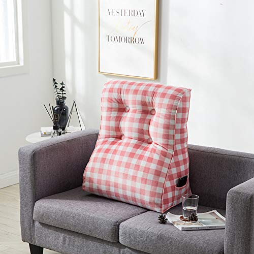 Driehoekig afneembaar leeskussen, rugsteunkussen, wigvormige kussen met zakken in de lumbale regio rugkussens voor bed en bank.
