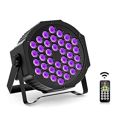 UV Schwarzlicht, 36W UV LED Bühnenlicht 36 LED Par Lights mit Fernbedienung, DMX Steuerung Par Licht für Disco, Halloween, Hochzeit, KTV, DJ, Club