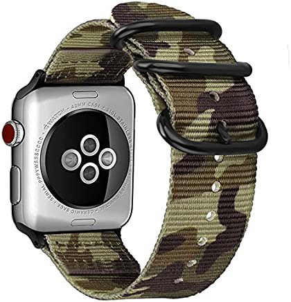 FINTIE Cinturino per Apple Watch 44mm 42mm, Nylon Tessuto Sport Regolabile Band con Fibbia Metallica Cinturini di Ricambio Accessori per Apple Watch Series 4 3 2 1, Camouflage Green