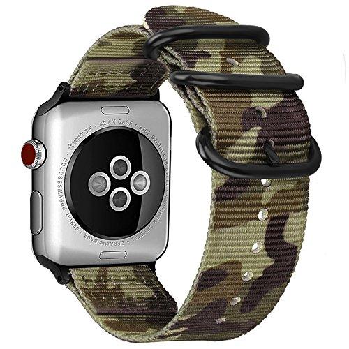 Fintie Armband kompatibel mit Apple Watch SE/Series 6 5 4 3 2 1 44mm 42mm - Premium Nylon atmungsaktive Sport Uhrenarmband verstellbares Ersatzband mit Edelstahlschnallen, Camouflage Grün