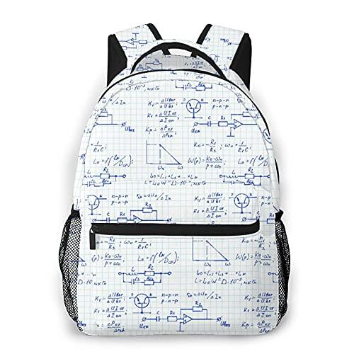 Kanxdecor Zaino casual,Fisica, ingegneria elettronica, equazioni e c, borsa da viaggio con cerniera, per affari, scuola, lavoro, borsa per laptop 16  X11.5 X8