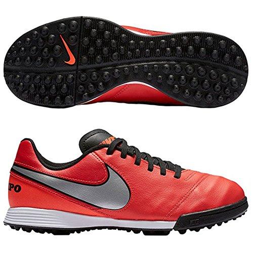 Nike JR Tiempo Legend VI TF, Scarpe da Calcio Uomo, Arancione/Argento/Rosso (Lt Crmsn/Mtllc Slvr-Ttl Crmsn), 37.5 EU