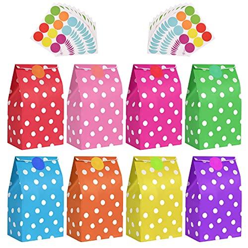 flintronic Bolsas de Regalo, 50 pcs Bolsa de Papel Kraft Bolsas de Papel en 10 Colores (+ 120 Piezas Pegatinas Redondas), para Fiestas,Bodas (24 * 13 * 8CM)