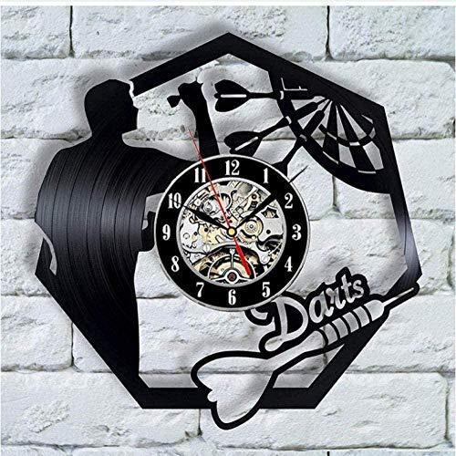 Vinyl Schallplatte Wanduhr Darts Spiel Coole Moderne Retro Musik Kunst Uhr Stumm Quarzuhr Wanddekoration Kreatives Geschenk-Mit_Led