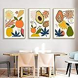 DFGRHG Póster Moderno Abstracto de Frutas Tropicales e impresión en Lienzo, Cuadros de Pared para Cocina, Comedor, decoración del hogar, 40x60cmx3 (sin Marco)