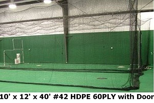 Jones Sports Batting Cage Net 10' H x 12' W x 40' L #42 HDPE (60PLY) with Door Heavy Duty...