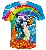 Spreadhoodie Homme Licorne T-Shirts Unisexe 3D Feu Colorée Col Rond T-Shirt Décontractée Manches...
